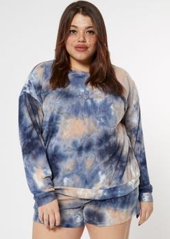 plus blue tie dye ribbed hacci knit sweatshirt - Main Image