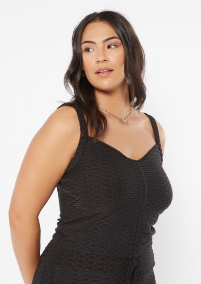 plus black ruched front honeycomb tank top - Main Image