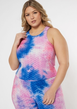 plus pastel tie dye honeycomb tank top - Main Image