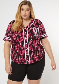 plus pink flame print baseball jersey - Main Image