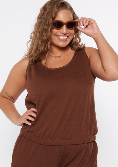 plus brown french terry crop tank top - Main Image