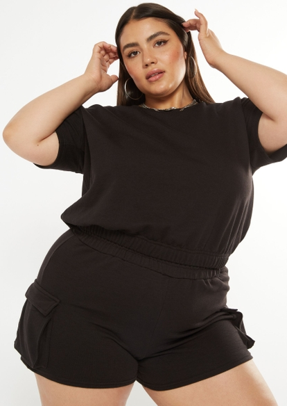 plus black french terry short sleeve crop top - Main Image