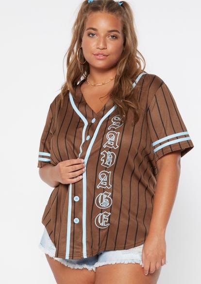 plus brown pinstripe savage graphic baseball jersey - Main Image