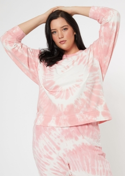 plus pink tie dye crew neck sweatshirt - Main Image