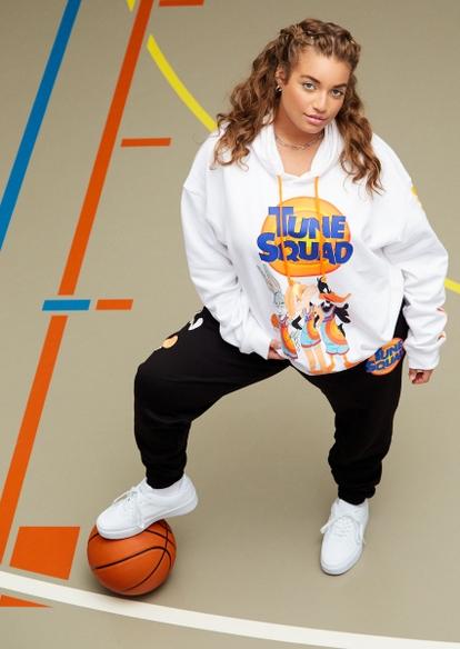 plus white space jam tune squad graphic hoodie - Main Image