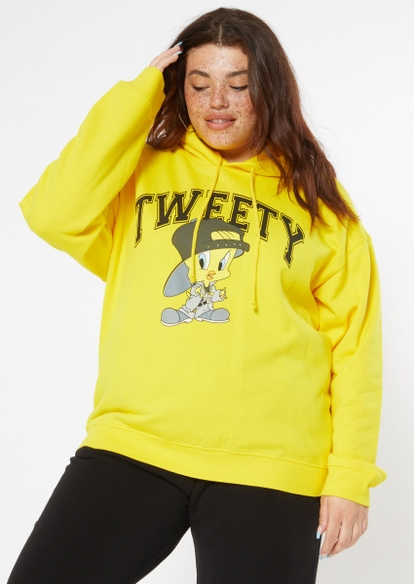 plus yellow tweety college graphic hoodie - Main Image