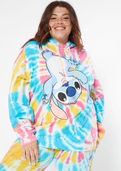 plus tie dye long sleeve stitch hoodie - Main Image