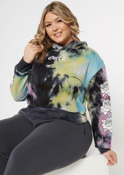 dark tie dye over it rose graphic hoodie - Main Image