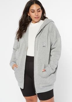 plus gray over it skeleton graphic zip up hoodie - Main Image