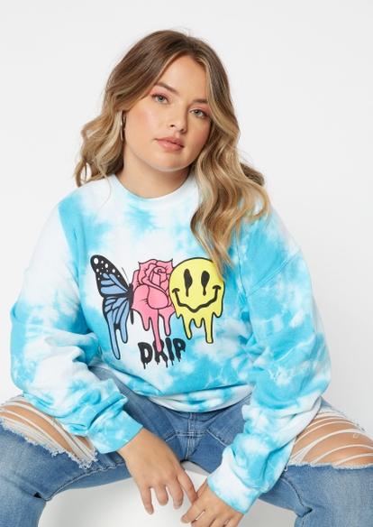 plus blue tie dye smiley rose butterfly graphic sweatshirt - Main Image