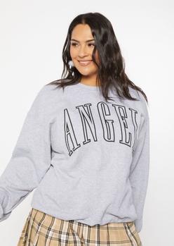 plus heather gray oversized angel varsity graphic pullover - Main Image