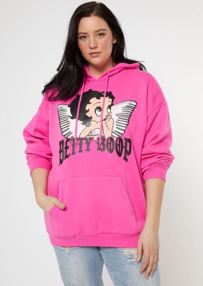 plus pink betty boop wings graphic hoodie - Main Image