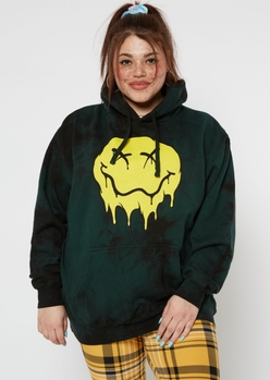 plus green tie dye drip smiley graphic hoodie - Main Image