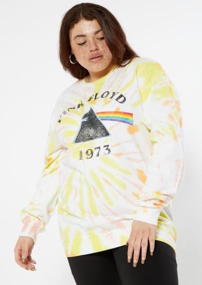 plus yellow tie dye swirl pink floyd graphic pullover - Main Image