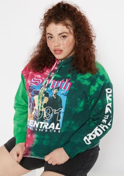 plus green tie dye boyz n the hood crop hoodie - Main Image