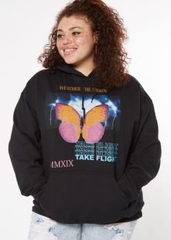 plus black butterfly storm print hoodie - Main Image