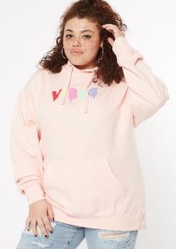 plus pink vibes print hoodie - Main Image