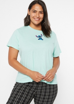 plus blue embroidered stitch tee - Main Image