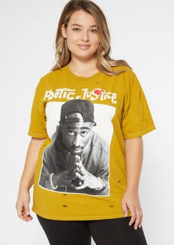 plus yellow poetic justice distressed graphic tee - Main Image