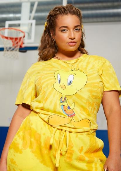 plus yellow tie dye tweety bird graphic skimmer tee - Main Image