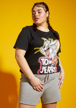 plus tom and jerry airbrushed black graphic tee - Main Image