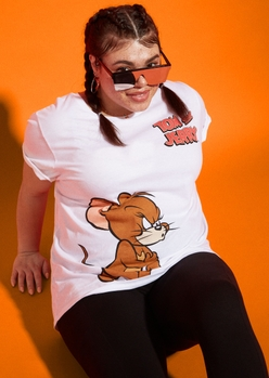 plus tom and jerry white graphic tee - Main Image