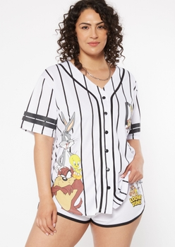 plus white striped looney tunes graphic baseball jersey - Main Image