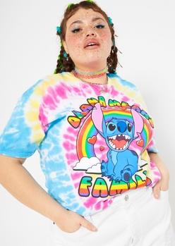 plus rainbow tie dye ohana stitch graphic tee - Main Image