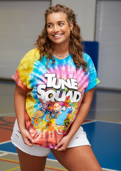 plus rainbow tie dye swirl space jam tune squad graphic tee - Main Image