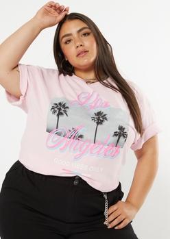 plus pink los angeles good vibes palm tree graphic tee - Main Image