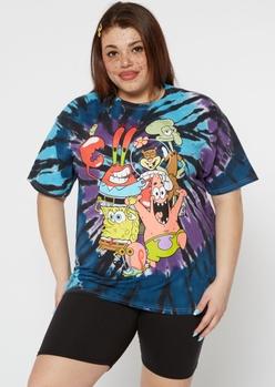 plus tie dye spongebob crew graphic tee - Main Image