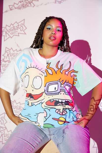 plus contrast split tommy and chucky graphic tee - Main Image