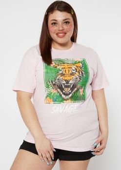 plus pink savage tiger graphic tee - Main Image