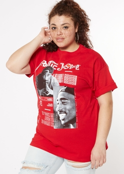 plus red poetic justice tupac graphic tee - Main Image