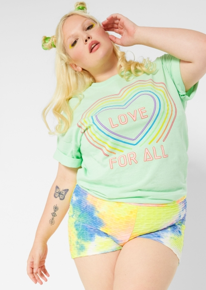 plus mint love for all neon heart graphic tee - Main Image