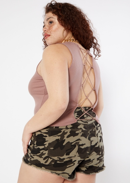 plus taupe lace up back tank top - Main Image