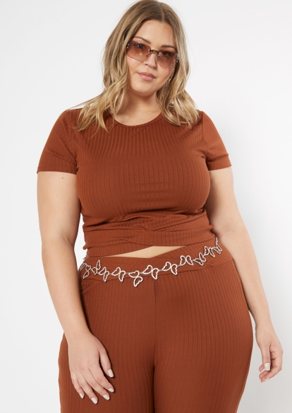 plus brown cutout twist bottom ribbed knit top - Main Image
