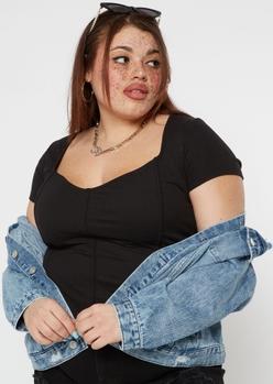plus black ribbed knit corset top - Main Image