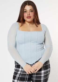 plus blue mesh sleeve corset top - Main Image