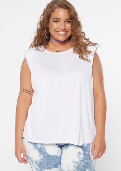 plus white shoulder pad muscle tank - Main Image