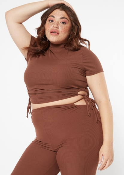 plus brown ruched side cutout mock neck crop top - Main Image