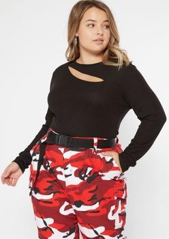 plus black slit super soft ribbed bodysuit - Main Image