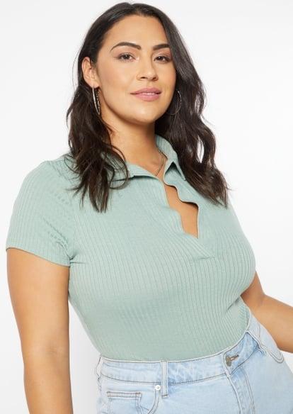 plus light green ribbed knit polo bodysuit - Main Image