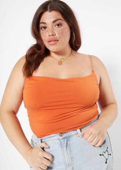 plus orange cowl neck chain strap tank - Main Image