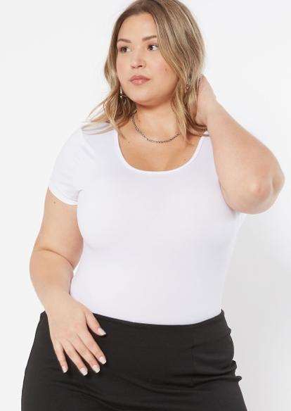 white lace up back super soft short sleeve bodysuit - Main Image