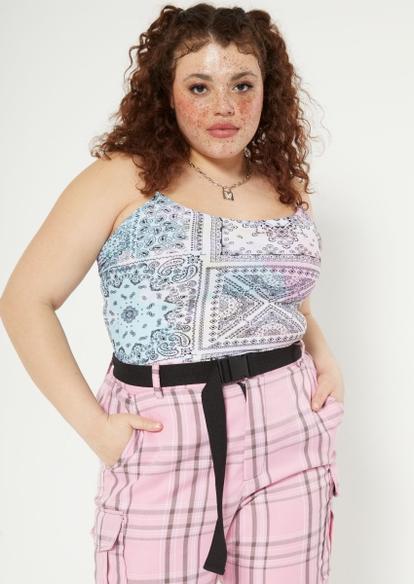 plus pastel tie dye bandana print x back cami bodysuit - Main Image
