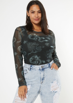 plus black dragon print mesh bodysuit - Main Image
