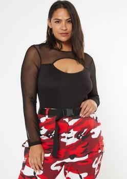 plus black cutout mesh bodysuit - Main Image