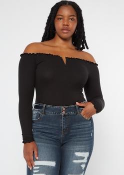 plus black off the shoulder ribbed knit bodysuit - Main Image
