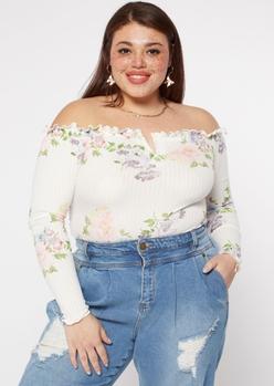 plus ivory floral print off the shoulder ribbed bodysuit - Main Image